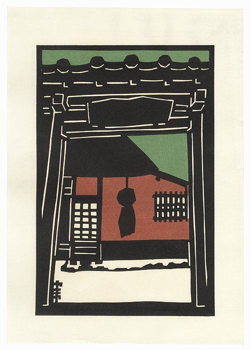 View through an Entrance by Shin-hanga & Modern artist (not read)