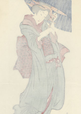 Beauty in the Rain by Eizan (1787 - 1867)