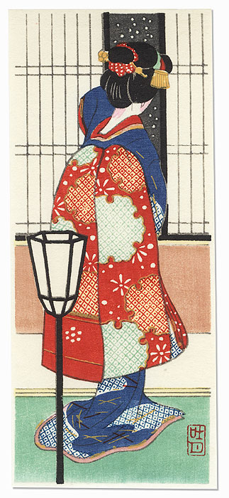 Maiko Watching Falling Snow by Shin-hanga & Modern artist (not read)