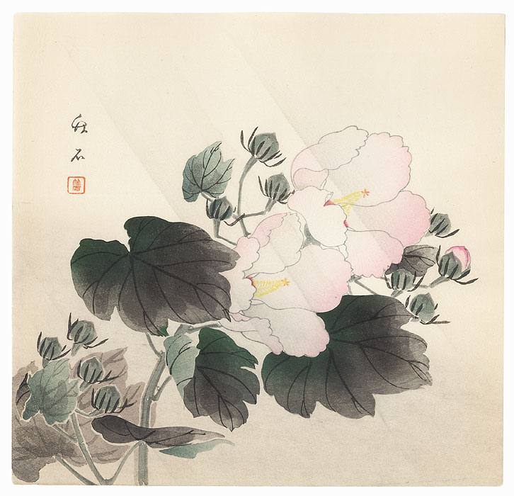Cotton Roses in Rain by Nagamachi Chikuseki (active circa 1900)