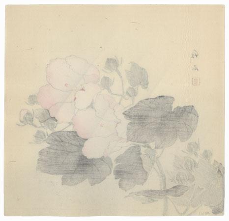 Cotton Roses in Rain by Nagamachi Chikuseki (active circa 1900)