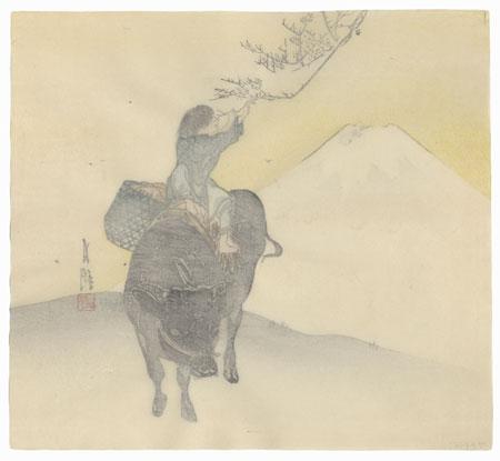 Boy and Ox near Mt. Fuji by Gekko (1859 - 1920)