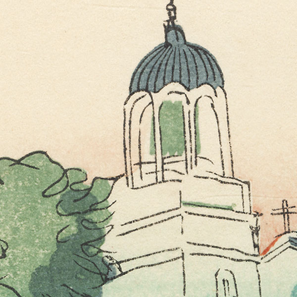 Dome and Church Tower by Shin-hanga & Modern artist (not read)