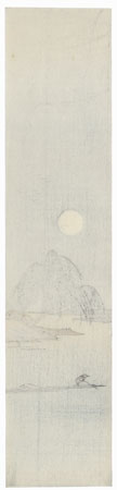 Full Moon over the River Tanzaku Print by 20th century artist (unsigned)