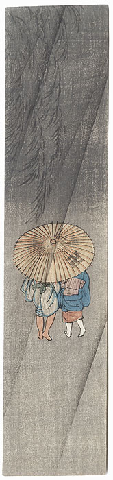 Sharing an Umbrella Tanzaku Print by Shin-hanga & Modern artist (unsigned)