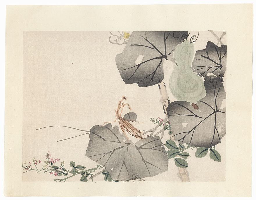 Praying Mantis and Gourd by Meiji era artist (unsigned)