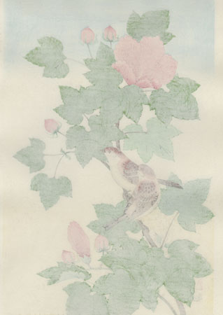 Sparrow and Cotton Rose by Shizuo Ashikaga (1917 - 1991)
