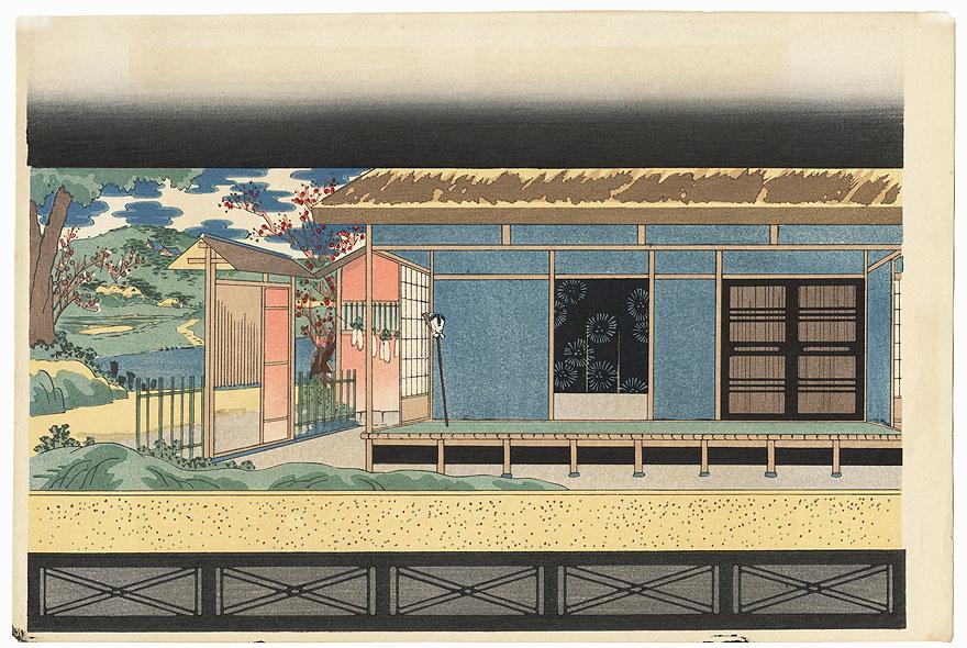 Bunraku Puppet Stage Setting for Osome Hisamatsu by Konobu (1914 - 1999)