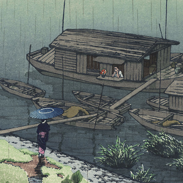 Early Summer Rain, Arakawa, 1932 by Hasui (1883 - 1957)
