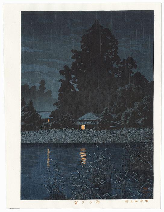 Night Rain at Omiya, 1930 by Hasui (1883 - 1957)