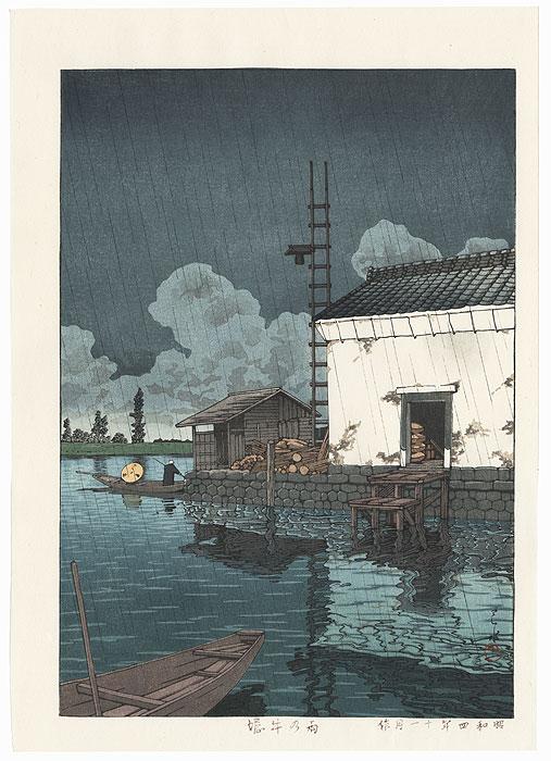 Rain at Ushibori, 1929 by Hasui (1883 - 1957)
