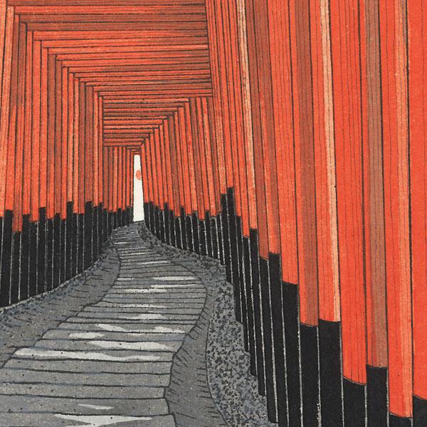 A Thousand Torii Gates at Fushimi Inari Shrine by Teruhide Kato (1936 - 2015)