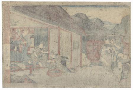 The 47 Ronin, Act 6: The Departure of Okaru and the Suicide of Kampei by Toyokuni III/Kunisada (1786 - 1864)
