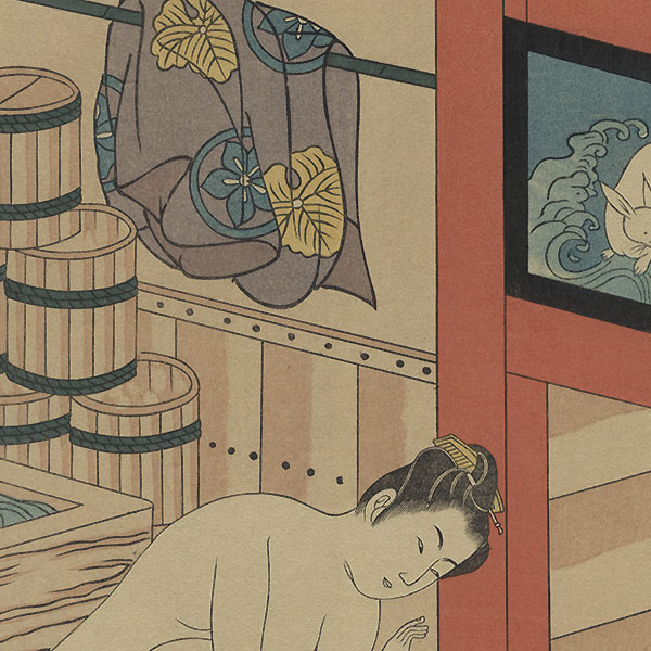 Mother and Boy at a Bathhouse by Kiyomitsu (1735 - 1785)