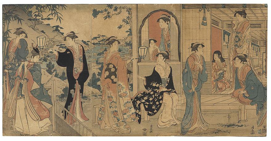 Fuji Arts Overstock Triptych - Exceptional Bargain! by Kiyonaga (1752 - 1815)