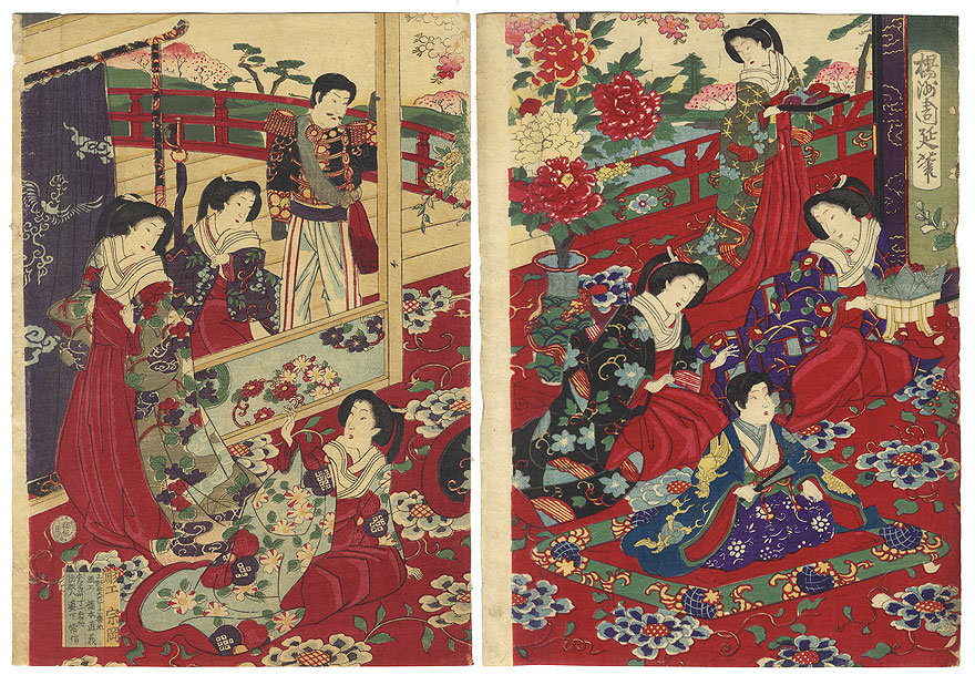 Fuji Arts Overstock Diptych - Exceptional Bargain! by Chikanobu (1838 - 1912)