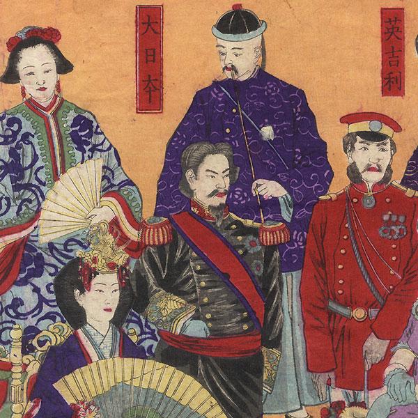 Fuji Arts Overstock Triptych - Exceptional Bargain! by Kiyochika (1847 - 1915)