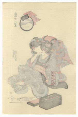 Twilight Snow in the Sky over the River  by Toyokuni III/Kunisada (1786 - 1864)