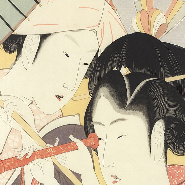 Two Beauties and a Looking Glass by Hokusai (1760 - 1849)