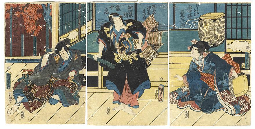 Fuji Arts Overstock Triptych - Exceptional Bargain! by Kunisada II (1823 - 1880)