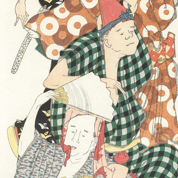 Festival Dancers Pillar Print by Hokusai (1760 - 1849)