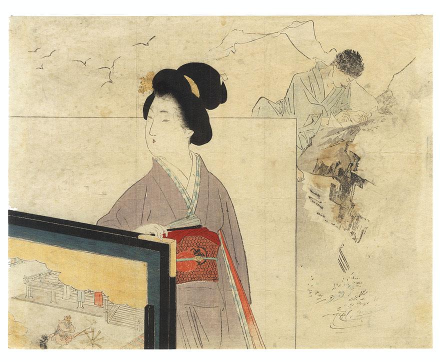 Daydreaming Kuchi-e Print by Kajita Hanko (1870 - 1917)