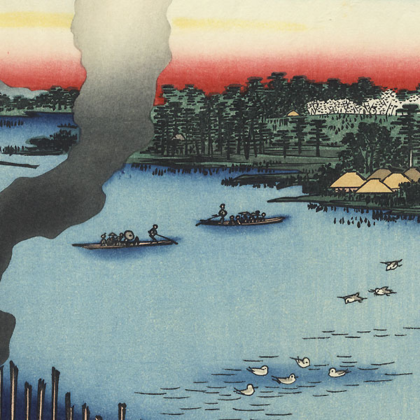 Tile Kilns and Hasiba Ferry, Sumida River by Hiroshige (1797 - 1858)