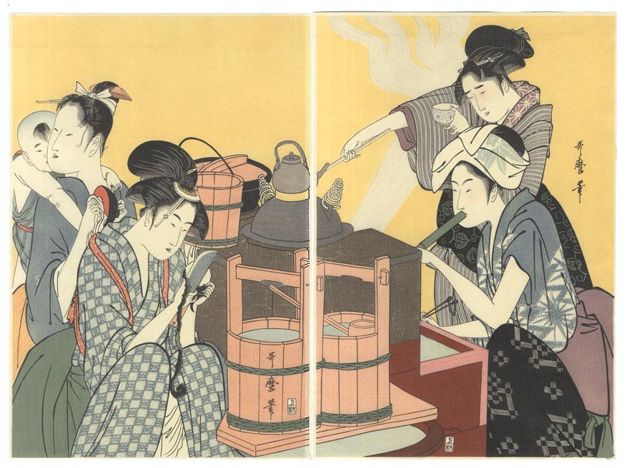 Women in the Kitchen by Utamaro (1750 - 1806)