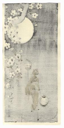 Beauty Walking by Moonlight by Shin-hanga & Modern artist (unsigned)