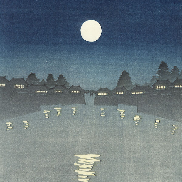 Pleasure Boat under a Full Moon by Shin-hanga & Modern artist (unsigned)