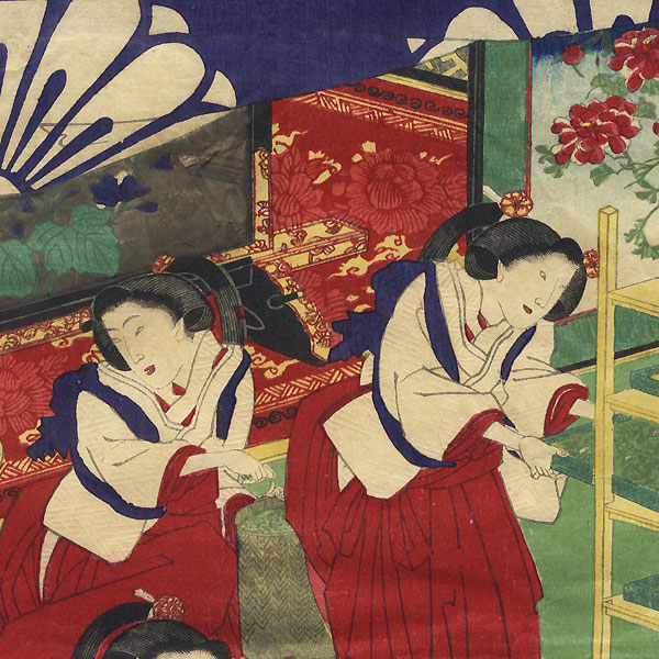 Chopping Mulberry Leaves to Feed Silkworms by Chikashige (active circa 1869 - 1882)