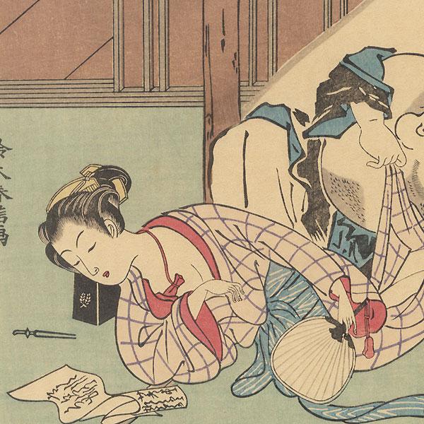 Beauty Sleeping and Lucky God Hotei by Harunobu (1724 - 1770)