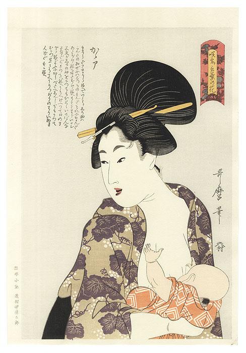 Mother Nursing Her Child by Utamaro (1750 - 1806)