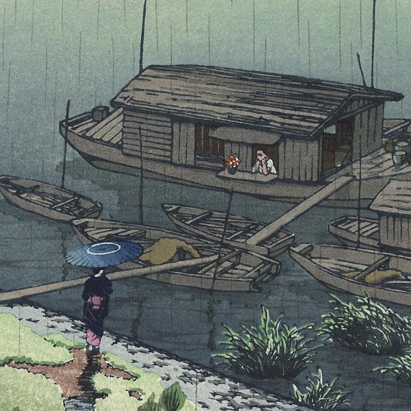 Early Summer Rain, Arakawa, 1932 by Hasui (1883 - 1957)