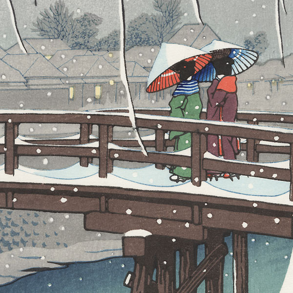 Evening Snow at Edo River, 1932 by Hasui (1883 - 1957)