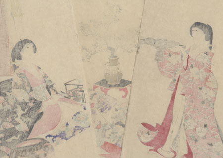 Serving a New Year's Meal  by Chikanobu (1838 - 1912)