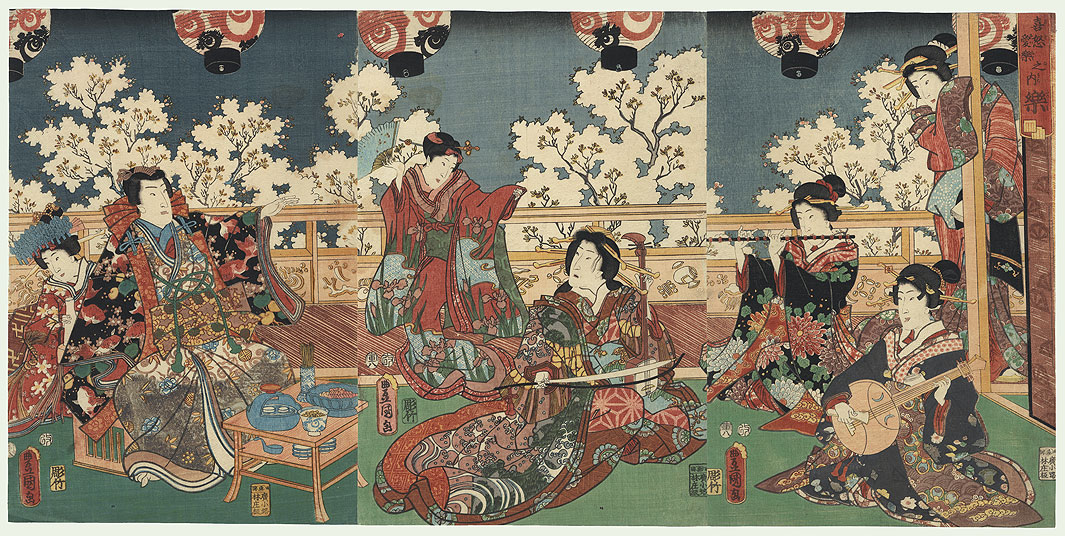 Pleasure/Music, 1854 by Toyokuni III/Kunisada (1786 - 1864)