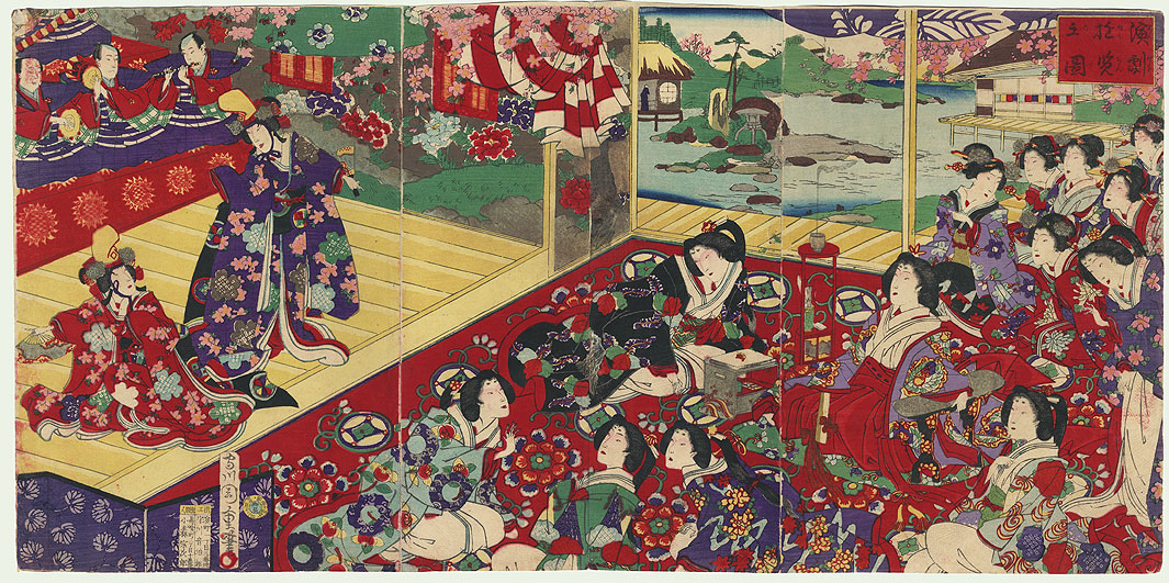 Dancers Performing by Chikashige (active circa 1850 - 1890)