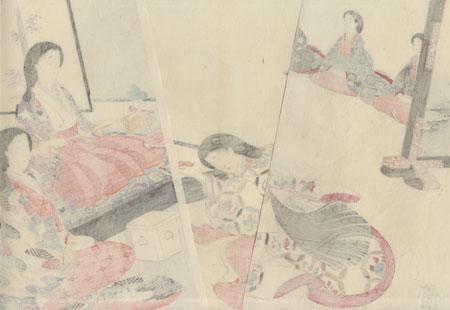 Serving Spiced Rice Wine by Chikanobu (1838 - 1912)