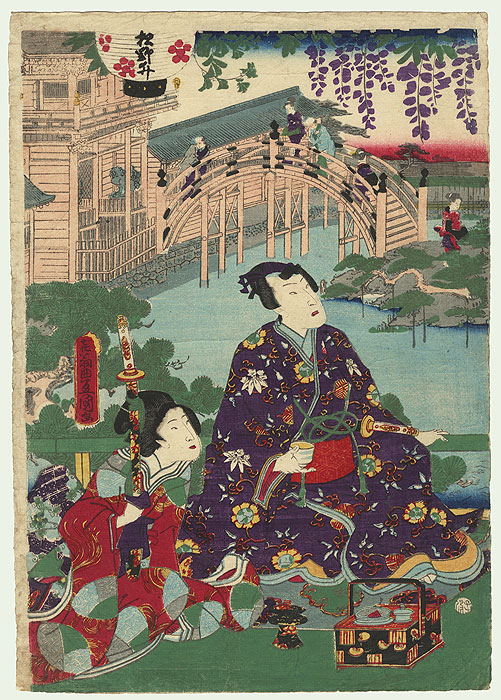 Prince Genji at Kameido Tenjin Shrine, 1864 by Toyokuni III/Kunisada (1786 - 1864)