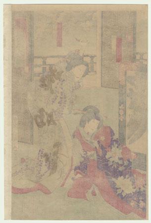 The Zori Sandal Scene from Kagamiyama, 1888 by Kunichika (1835 - 1900)