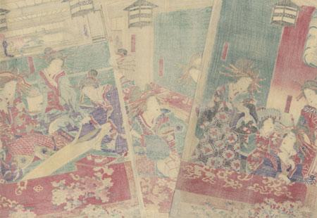 Yoshiwara Courtesans by Yoshitora (active circa 1840 - 1880)