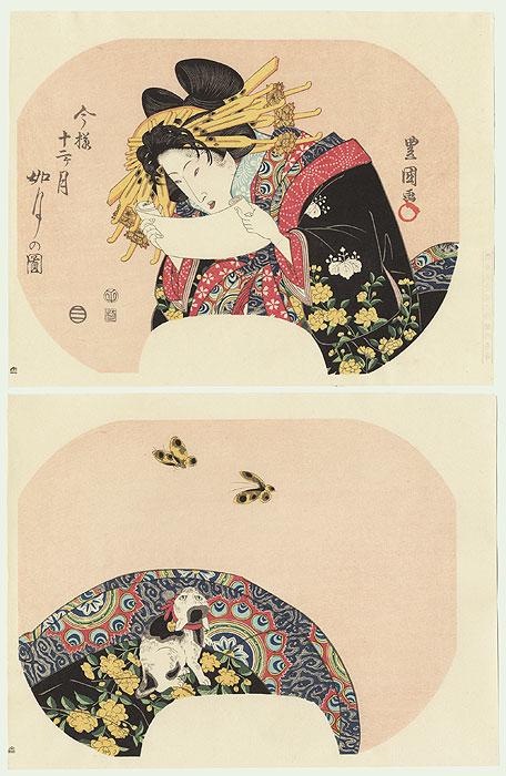 Beauty Reading a Letter Fan Print by Toyokuni (1769 - 1825)