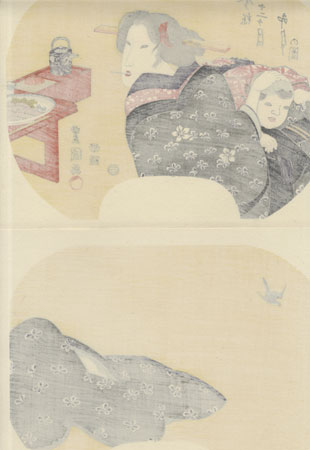 Beauty and Baby Boy Fan Print by Toyokuni (1769 - 1825)