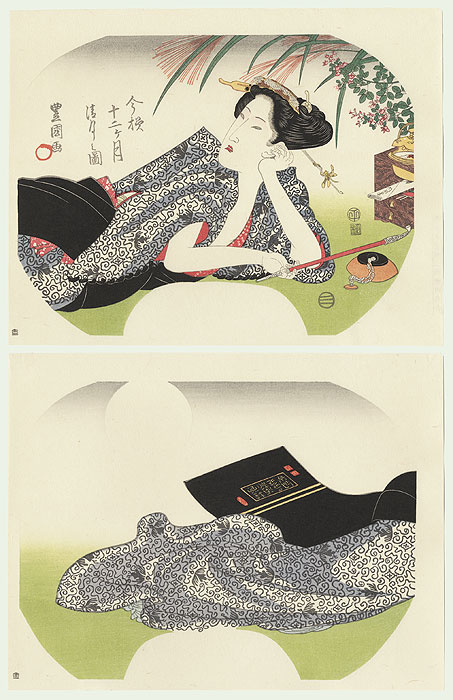 Beauty Reclining Fan Print by Toyokuni (1769 - 1825)