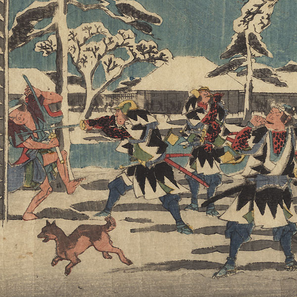 The 47 Ronin, Act 11, Part 1: The Night Attack on Moronao's Mansion by Hiroshige (1797 - 1858)