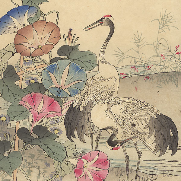 Cranes and Morning Glories by Kono Bairei (1844 - 1895)