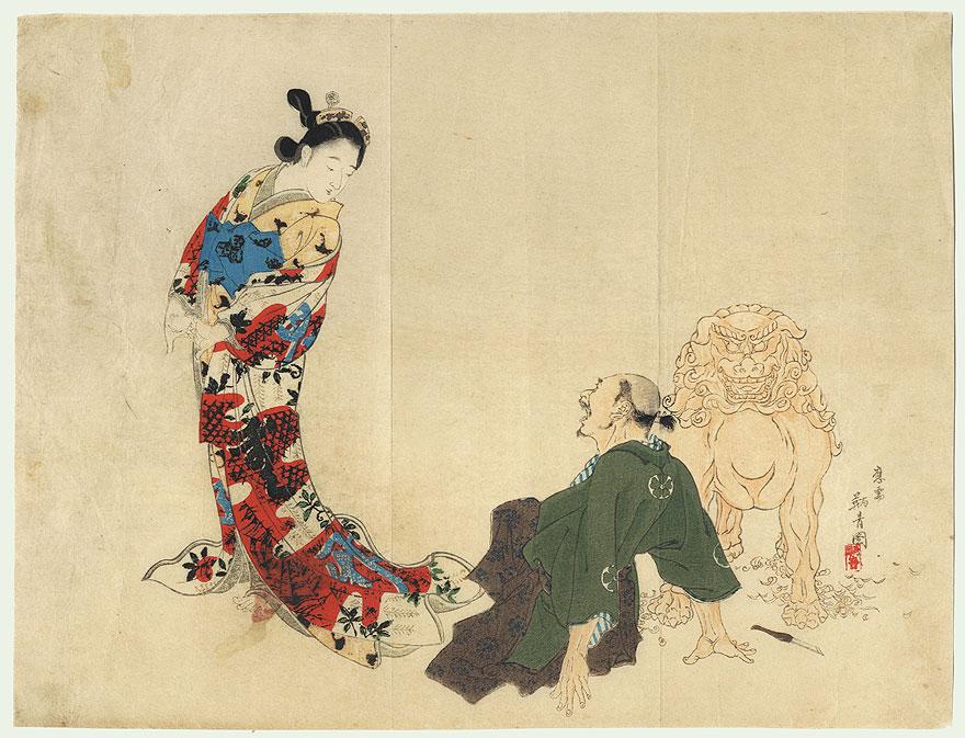 Sculpture Coming to Life Kuchi-e Print by Kobori Tomoto (Tomone) (1864 - 1931)