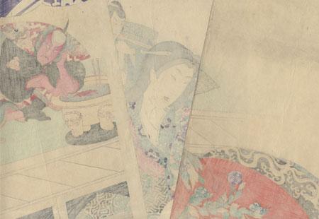 Chronicle of the Dan-no-ura Helmet, the Koto Torture Scene by Chikanobu (1838 - 1912)