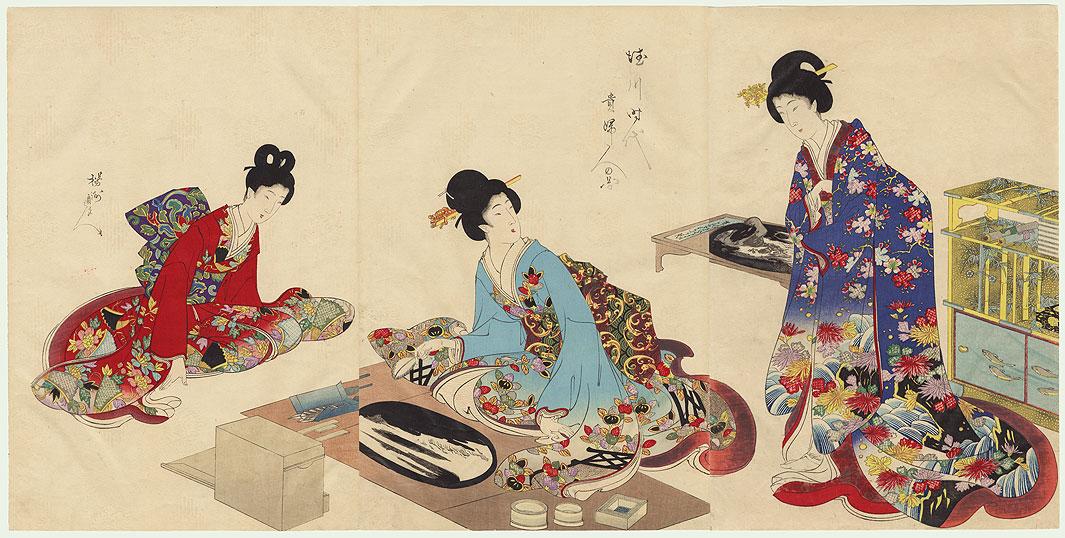 Creating Bonseki by Chikanobu (1838 - 1912)